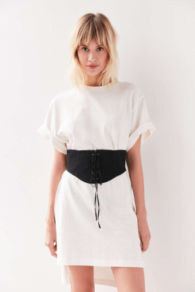 Coco Corset Belt from Urban Outfitters. ($29) The Corset Belt is paired with a loose, white t-shirt dress. Source: Urban Outfitters.