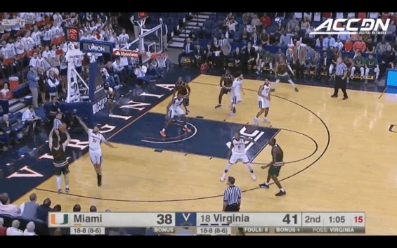 Miami's DJ Vasiljevic hits a game-tying three-pointer in a game against the Virginia Cavaliers in Charlottesville, Va. (The ACC)