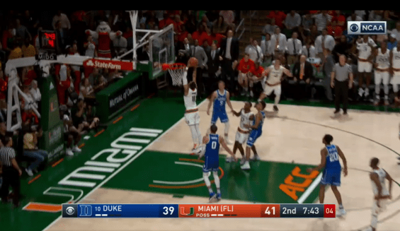 Miami's Bruce Brown slams home a dunk in the second half of the Hurricane's 55-50 win over Duke. (ESPN)