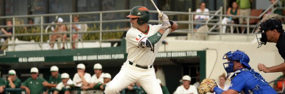 Miami's Johnny Ruiz waits for a pith in Wednesday's loss to the Florida Gulf Coast Eagles at Mark Light Field at Alex Rodriguez Park in Coral Gables, Fla. / (hurricanesports)