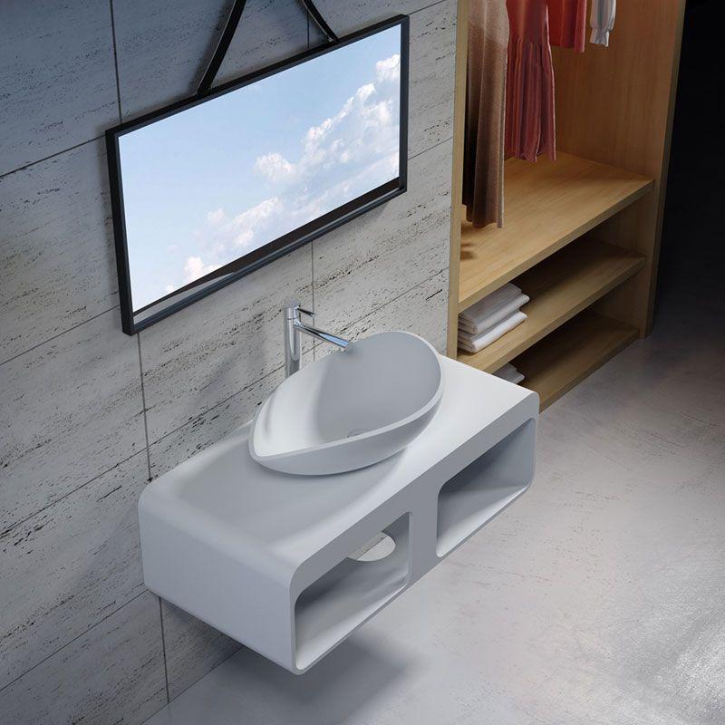 Plan Vasque Design En Solid Surface Ensemble Plan Vasque Et Lavabo Sdk52 Sdv20