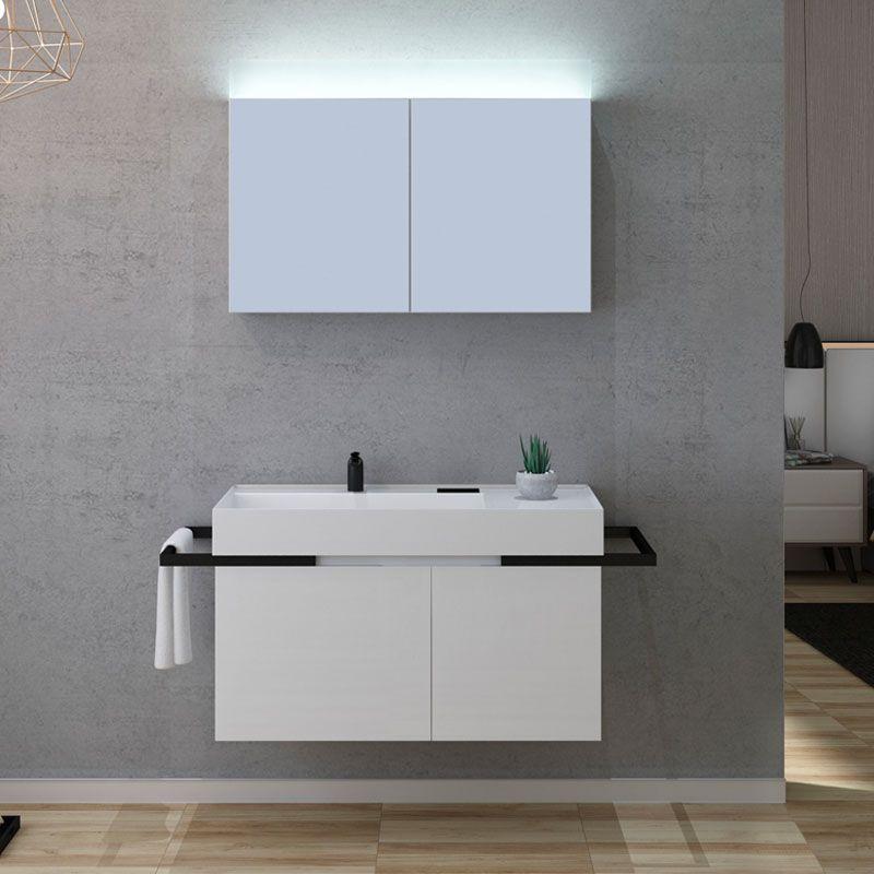 Meuble Avec Miroir Pour Salle De Bain 100 Cm Meuble De Salle De Bain Blanc Laque Teramo