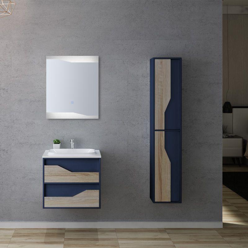 meuble de salle de bain urbino 600 scandinave et bleu saphir