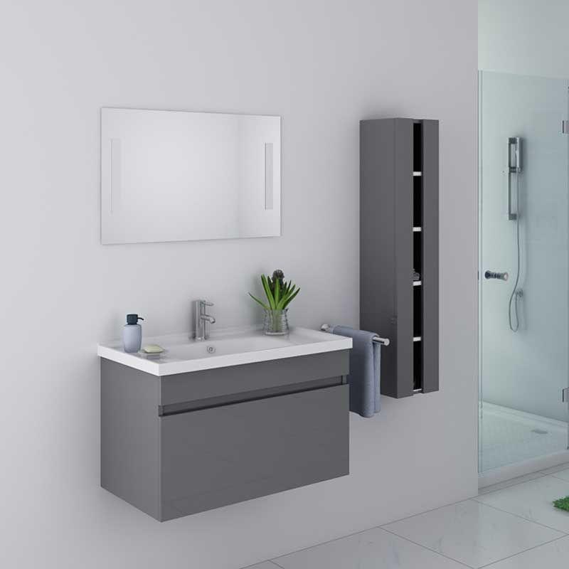 meuble de salle de bain dis800a gris taupe