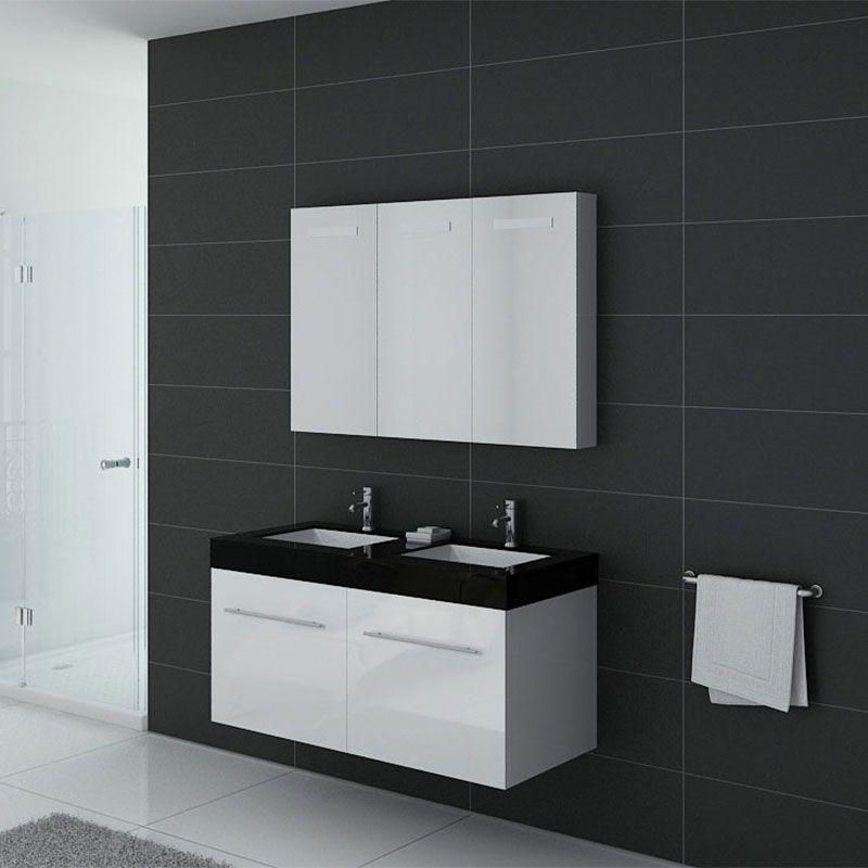 Meuble De Salle De Bain Double Vasque Noir Et Blanc