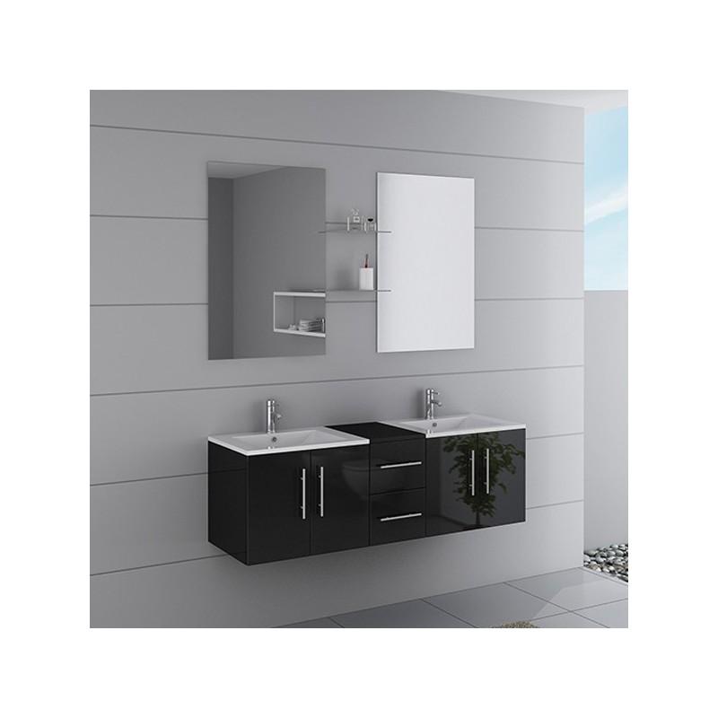 Meuble Double Vasque Suspendu Noir DIS1500N Distribain
