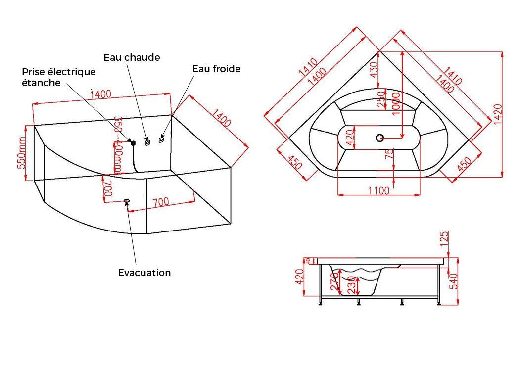 baignoire d angle balneo 140x140 eden
