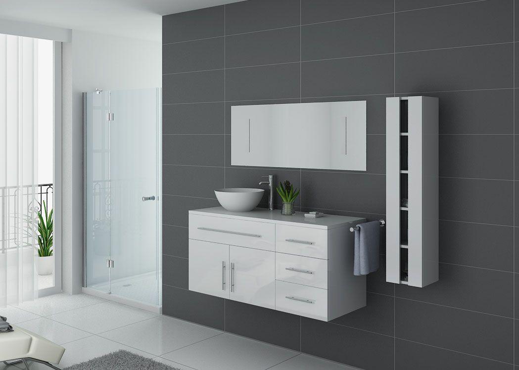 Meuble Salle De Bain Simple Vasque AREZZO Blanc Meuble De