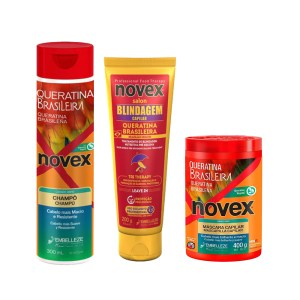 Kit Novex Keratina Brasilera Tratamiento 400, Shampoo Y Blindagem 200gr