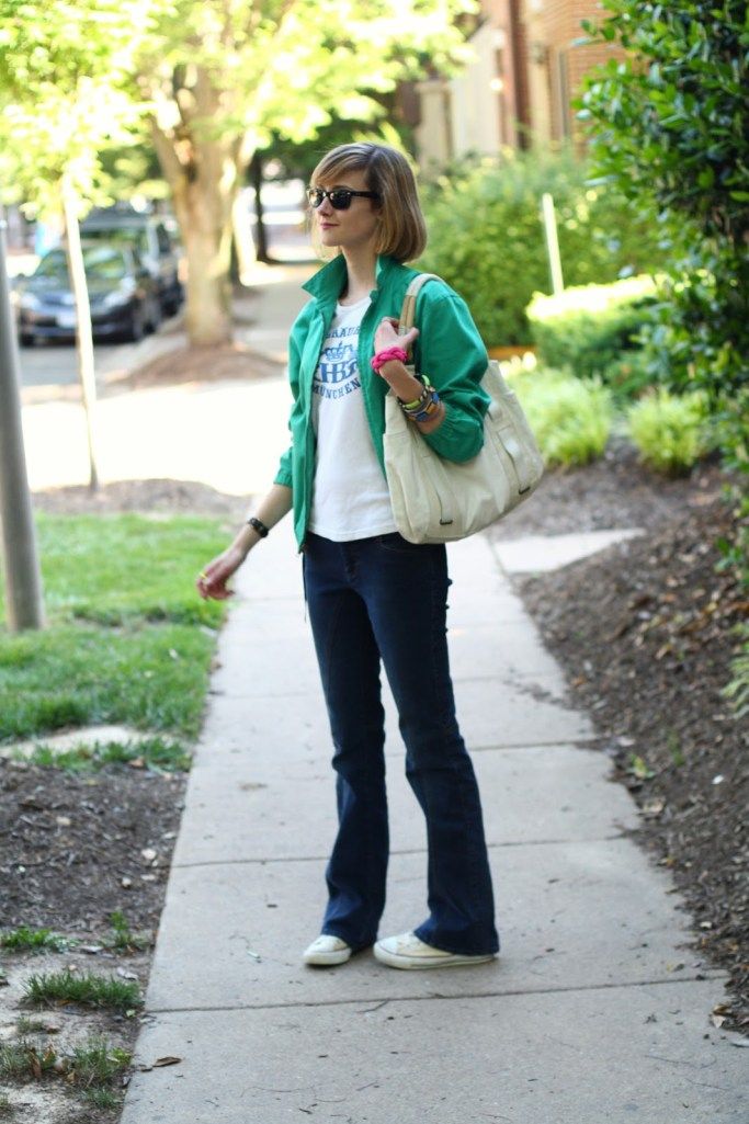 flared jeans and jacket
