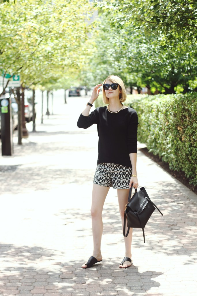 Express sweater and geo print shorts