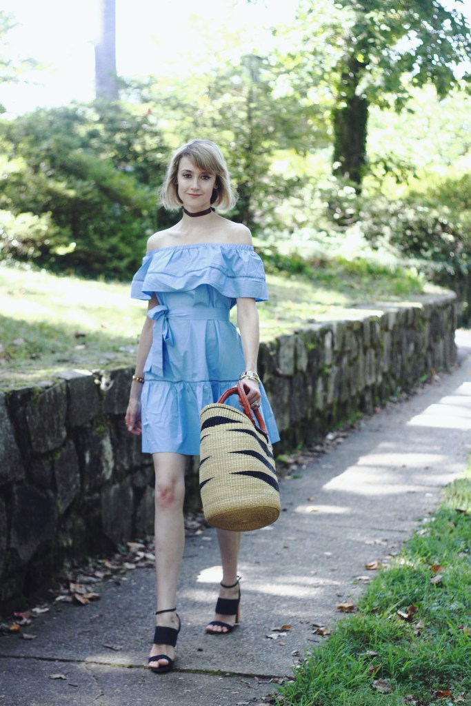 ruffled off-the-shoulder dress and denim heels