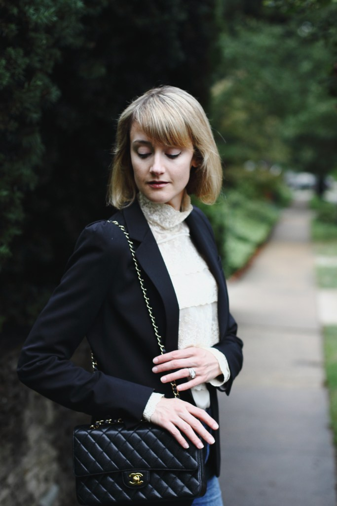 victorian blouse, blazer, and Chanel bag