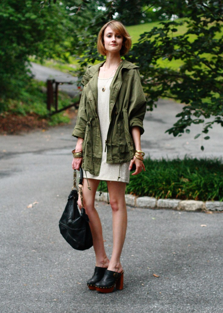 anorak and gold mini dress