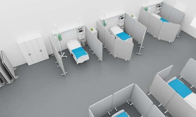 pantalla de suelo diseñada  por Götessons para el sector de la atención médica