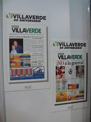 Algunas de las portadas más destacadas de Distrito Villaverde, en la exposición del Centro Socio-Cultural Ágata.