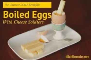This is the ultimate LCHF breakfast - boiled eggs and cheese soldiers. What a nutritious and protein packed way to start the day. #lowcarb #lchf #banting | ditchthecarbs.com