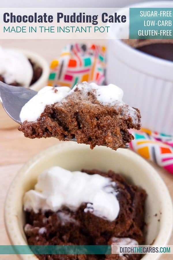 Wow! Low-Carb Instant Pot Chocolate Pudding Cake - with a hidden chocolate sauce!! What a great healthy sugar-free treat for the whole family. #ditchthecarbs #lowcarbdesserts #ketodesserts #glutenfreechocolatedesserts #sugarfreechocolatecake #instantpotchocolate