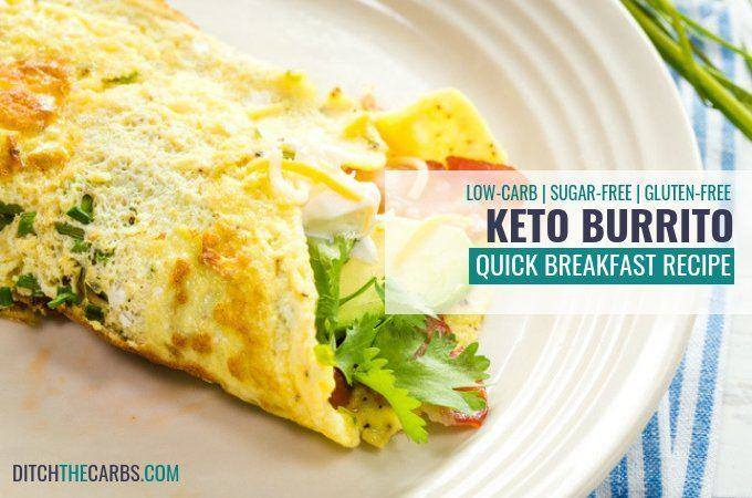 Quick and easy keto breakfast burrito. Load em'up with your favourite fillings. Bacon, avocado, cheese and some leafy greens. #keto #glutenfree #lowcarb #healthybreakfast #ketoburrito #quickbreakfast #ketosnacks #sugarfree #wheatfree