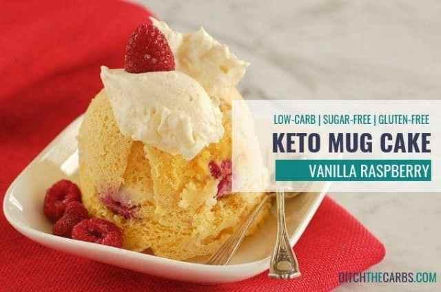 How to make a quick and easy 1-minute coconut flour keto vanilla berry mug cake - even when you don't like to cook! #ketomugcake #lowcarbmugcake #coconutflourmugcake #glutefreemugcake #sugarfreemugcake