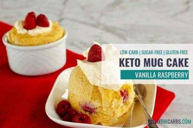 How to make a quick and easy 1-minute coconut flour keto vanilla berry mug cake - even when you don't like to cook! #ketomugcake #lowcarbmugcake #coconutflourmugcake #glutefreemugcake #sugarfreemugcake