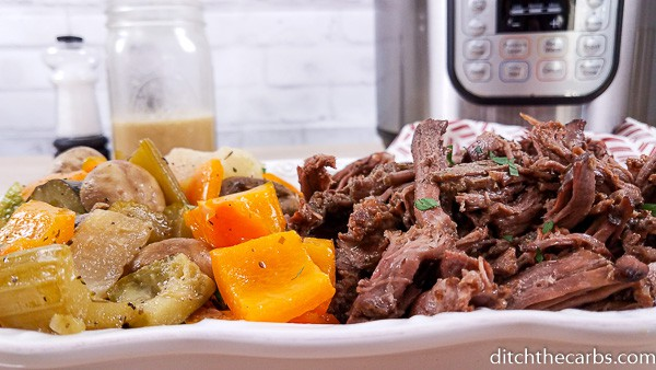 Wow! I never would have though to use these vegetables in pot roast! So good! #ketopotroastintheinstantpot #instantpot #ditchthecarbs #lowcarb #keto #glutenfree #sugarfree #healthyrecipes #familymeals