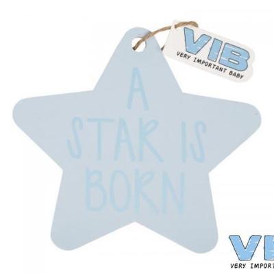 Houten bord ster blauw