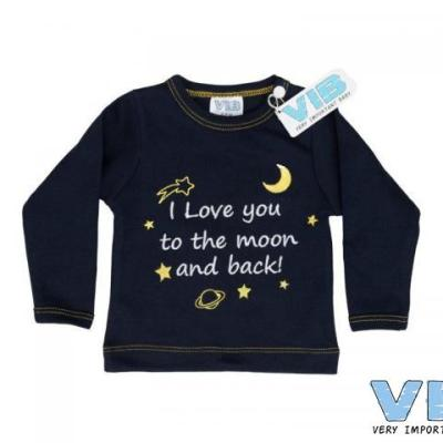 t-shirt navy 3+6M I love you to the moon and back
