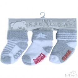 Soft touch 3-pack sokjes grijs_wit