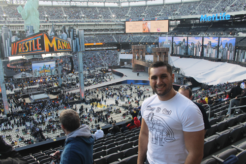 Cheesin' it up in my WrestleMania seats