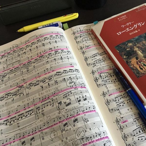 Before the rehearsal, studying everyday..Lohengrin all day..毎日夜9時までリハーサル。リハ前の午前中はお勉強...結局一日中ローエングリン.. - from Instagram