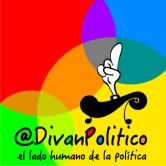 Aplicación logo @DivanPolitico con fondo y eslogan
