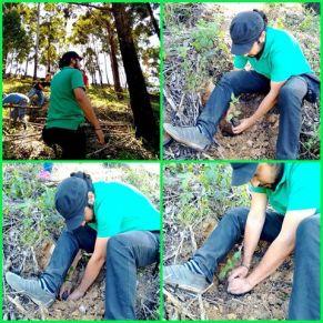 Lucas García sembrando árboles