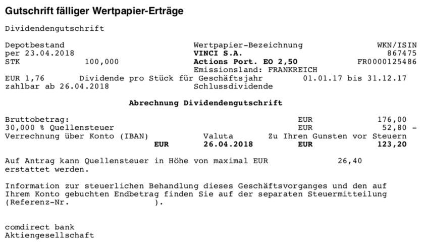 Die Originaldividendenabrechnung von VINCI im April 2018