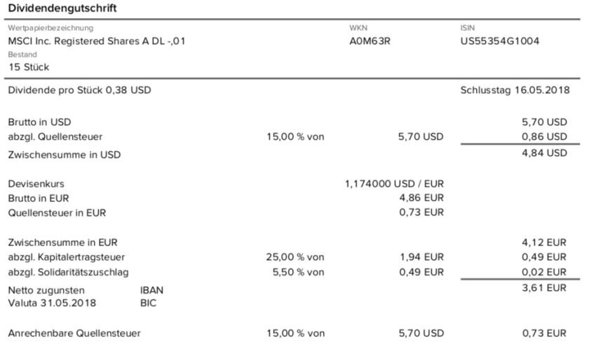 Die Originalabrechnung der Dividendenzahlung von MSCI Inc. im Mai 2018