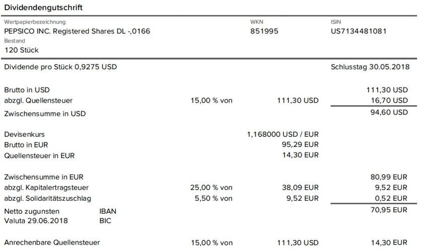Die Originalabrechnung der Dividendenzahlung von PepsiCo im Juni 2018