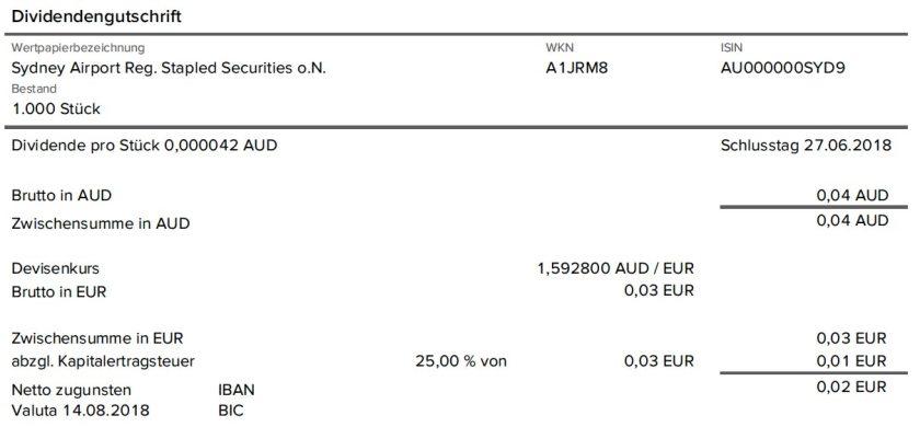 Dividendenabrechnung Sydney Airport ohne Quellensteuer