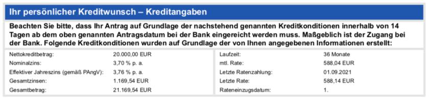 Die Kreditangaben