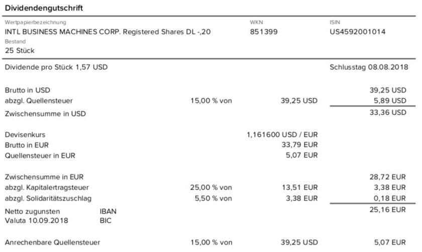 Die Originalabrechnung der IBM-Dividende im September 2018