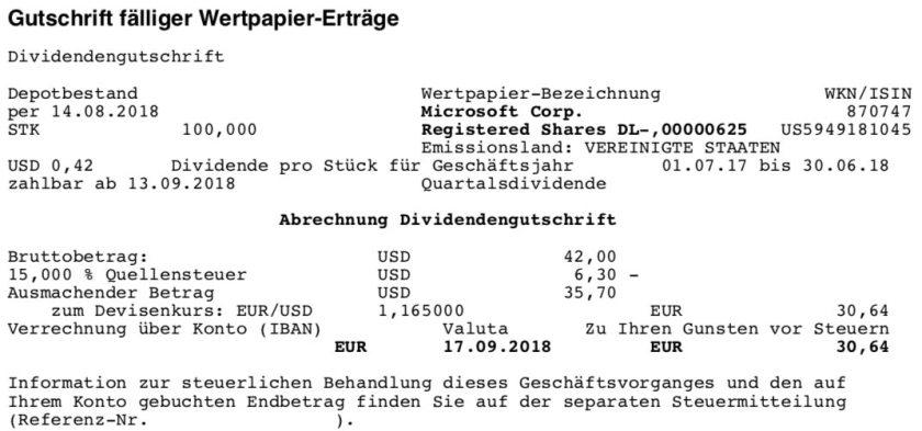 Die Originalabrechnung der Microsoft-Dividende im September 2018