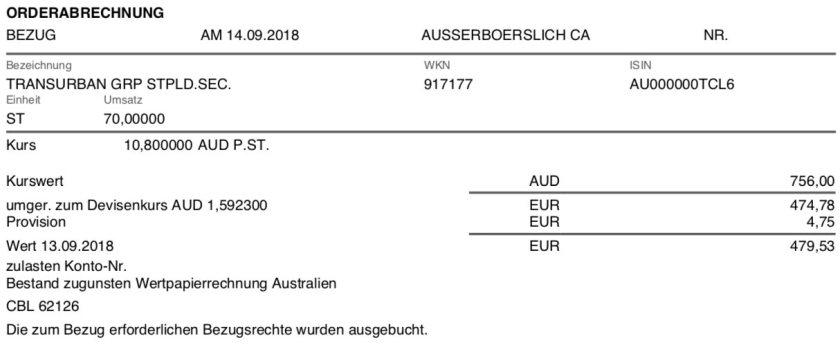 Kaufbeleg Transurban Group September 2018