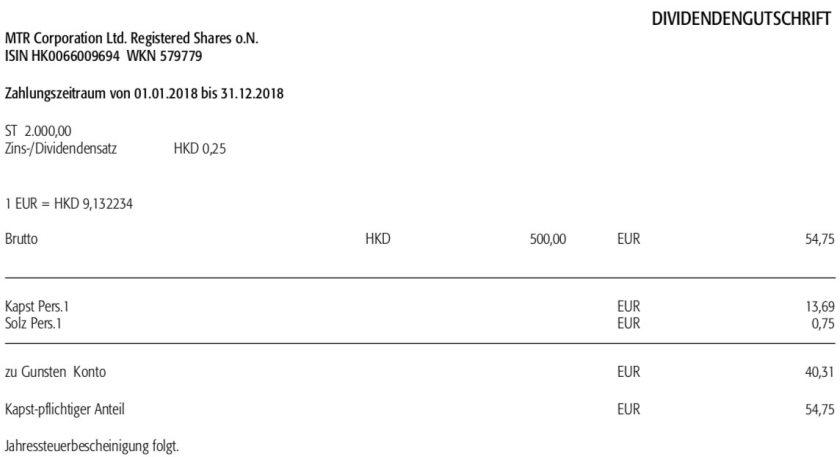 Die Original-Abrechnung der MTR-Dividende im Oktober 2018