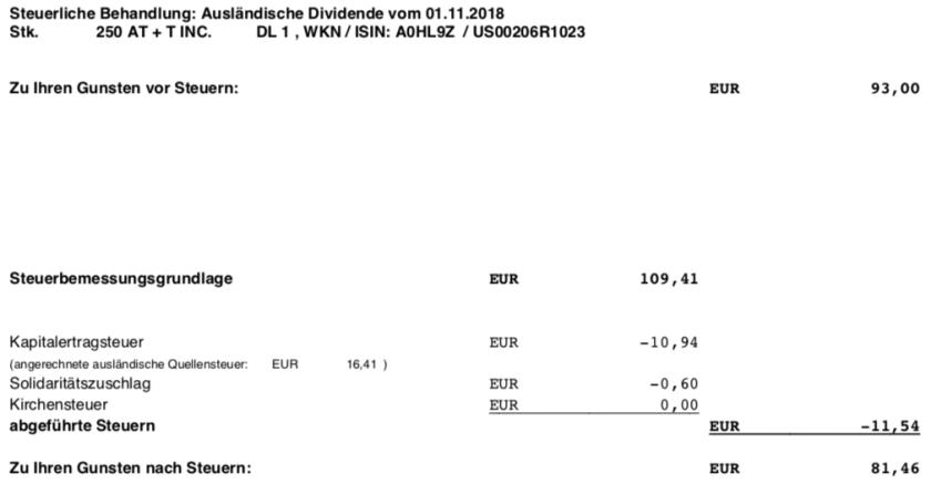 Die Steuer-Originalabrechnung der Dividende von AT&T im November 2018