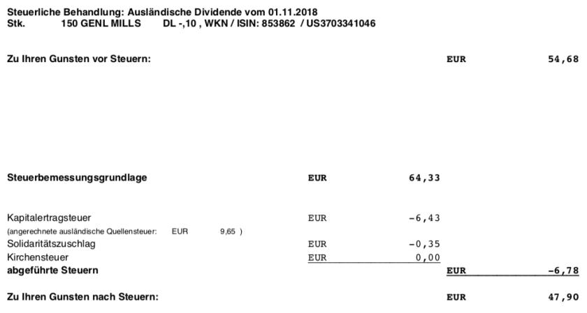 Die Steuer-Originalabrechnung der Dividende von General Mills im November 2018