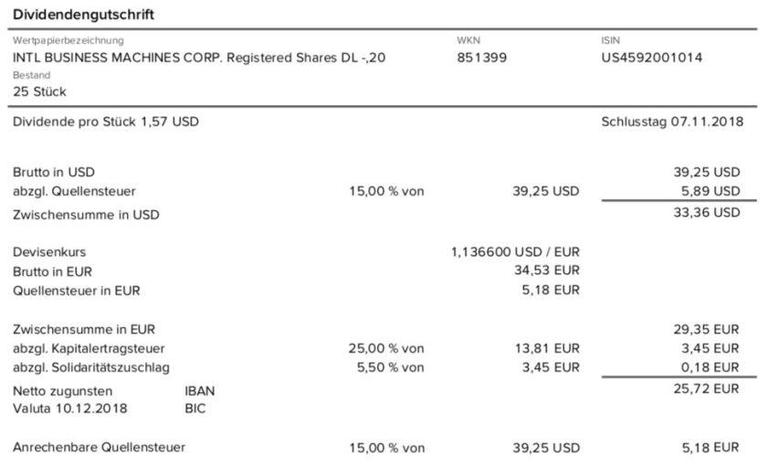 Die Originalabrechnung der IBM-Dividende im Dezember 2018