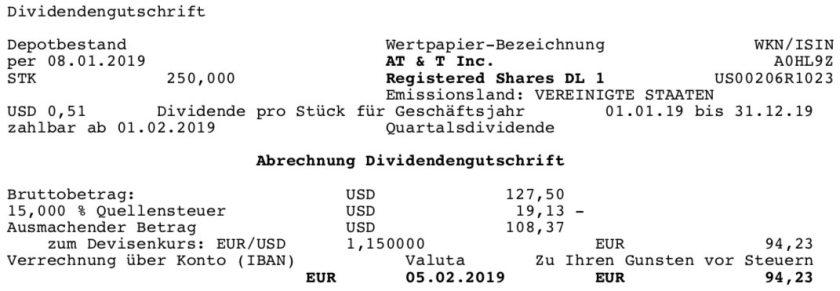 Die Originalabrechnung der AT&T-Dividende im Februar 2019