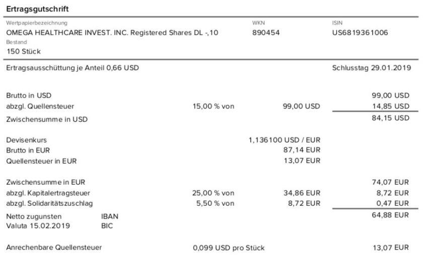 Die Originalabrechnung der Dividende von Omega Healthcare Investors im Februar 2019