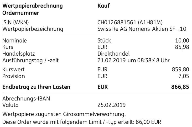 Die Originalabrechnung vom Kauf der Swiss Re-Aktien im Februar 2019