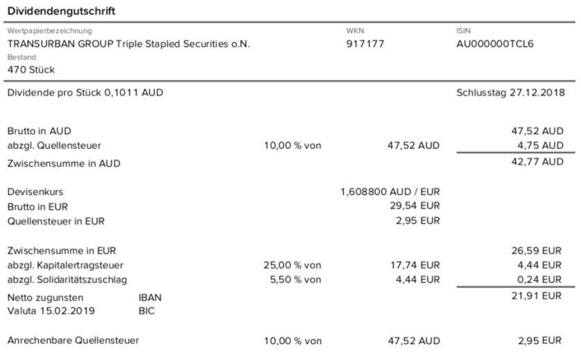 Die Originalabrechnung der Transurban Group-Dividende im Februar 2019 10% Quellensteuer