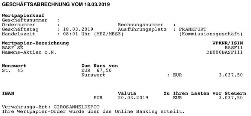 Kaufabrechnung BASF im März 2019